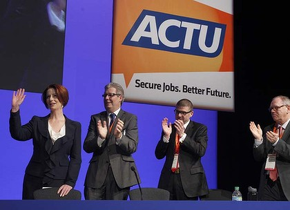 Julia Gillard Photo MIchele MOssopTuesday 15th may 2012Julia Gillard speaks at the ACTU national conference in Sydney todaySeen here with ew ACTU secretary Dave Oliver (on her immediate right)