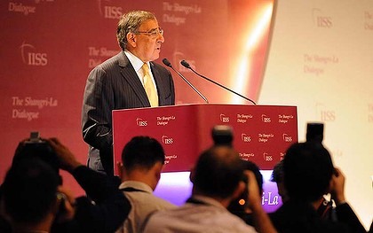 US Secretary of Defense Leon Panetta speaks during the International Institute for Strategic Studies (IISS) 11th Asia Security Summit in Singapore on June 2, 2012. The United States will shift the majority of its naval fleet to the Pacific by 2020 as part of a new strategic focus on Asia, Pentagon chief Leon Panetta told a summit in Singapore on June 2.      AFP PHOTO / ROSLAN RAHMAN