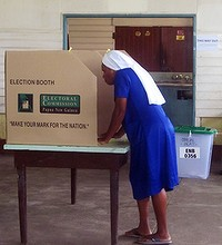 Sister Susan prepares to cast her vote in East New Britain.