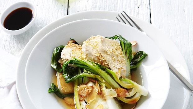 Chicken with sesame and bok choy.