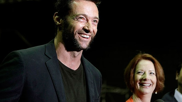 Prime Minister Julia Gillard, right, with Hugh Jackman on the set of <i>The Wolverine</i> in July.