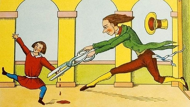Heinrich Hoffmann's Der Struwwelpeter featured a story about Conrad, a thumb-sucker, who had his offending digits snipped off with scissors.