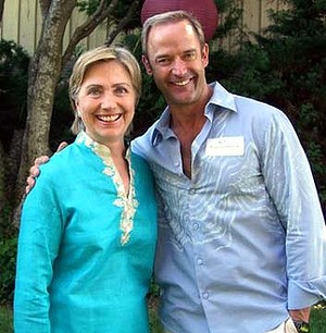 Dr Tom Ziolkowski, left, with Hillary Clinton.