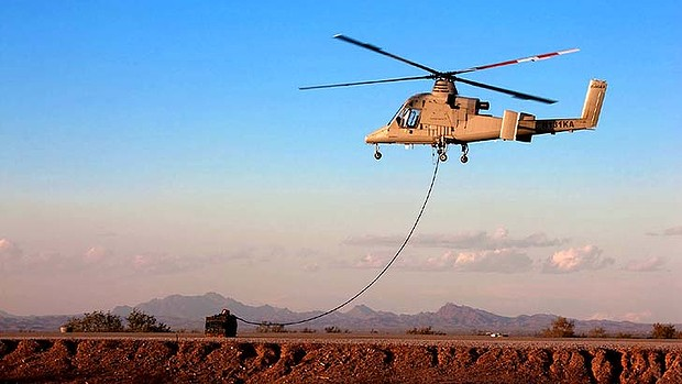 """""""Aerial truck"""": The unmanned K-MAX can fly up to 2700 kilograms of cargo into war zones."""