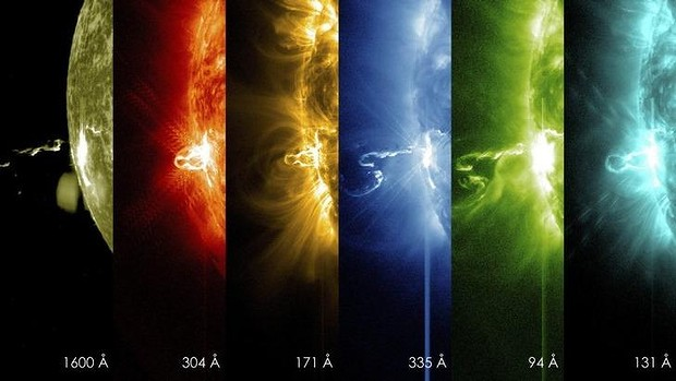 A series of images from NASA's Solar Dynamics Observatory show the first moments of an X-class significant solar flare in different wavelengths of light. Flares are often related to coronal mass ejections.