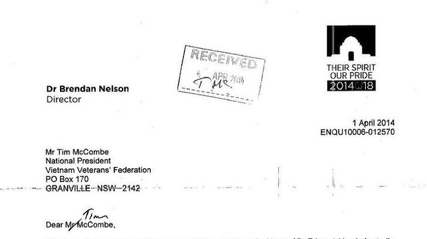 Letter from Brendan Nelson to Mr Tim McCombe.