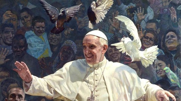 Shen's portrait of the Pope that takes its cue from St Francis of Assisi.