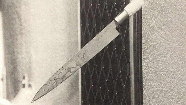 """""""It was so sharp"""": The bloodstained knife on which it is claimed Jenny Lee Cook impaled herself."""