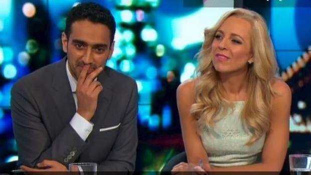 A somewhat perplexed Waleed Aly and Carrie Bickmore after Brand's rant on The Project.