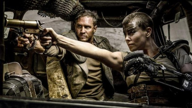 Swag of awards: Tom Hardy as Max and Charlize Theron as Furiosa in Mad Max: Fury Road.