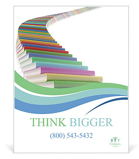 stairs made of books poster template