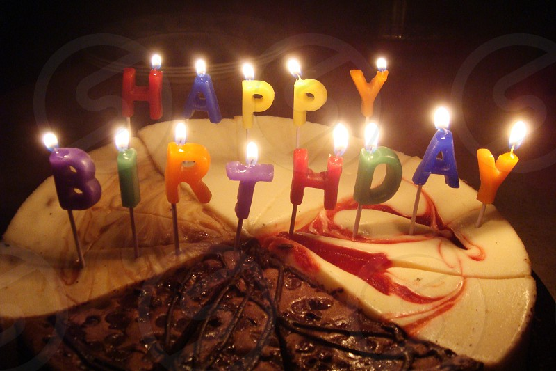 Birthday Cake With Candles By Lindsay Franklin Photo Stock Snapwire