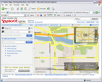 Yahoo! Maps Beta with Traffic Turned On
