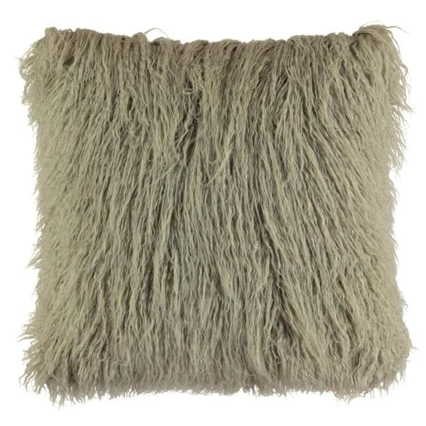 linens and lace and lace faux mongolian fur cushion