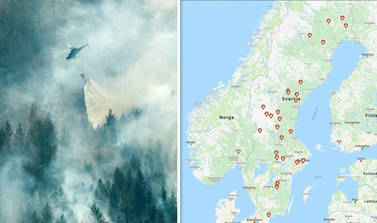 Sweden fire map  Sweden battles raging wildfires   worst drought in     Sweden fire map  Sweden battles raging wildfires   worst drought in 74  years   World   News   Express co uk