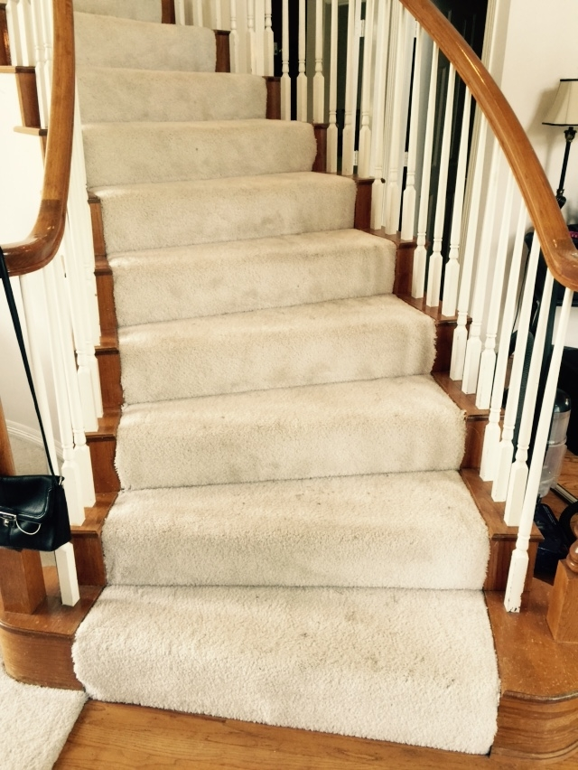 Should I Carpet My Stairs With The Same Carpet I Use Upstairs   Open Concept With Basement Stairs In Middle Of House   Dining Room   Basement Steps   Basement Remodeling   Stair Case   Kitchen