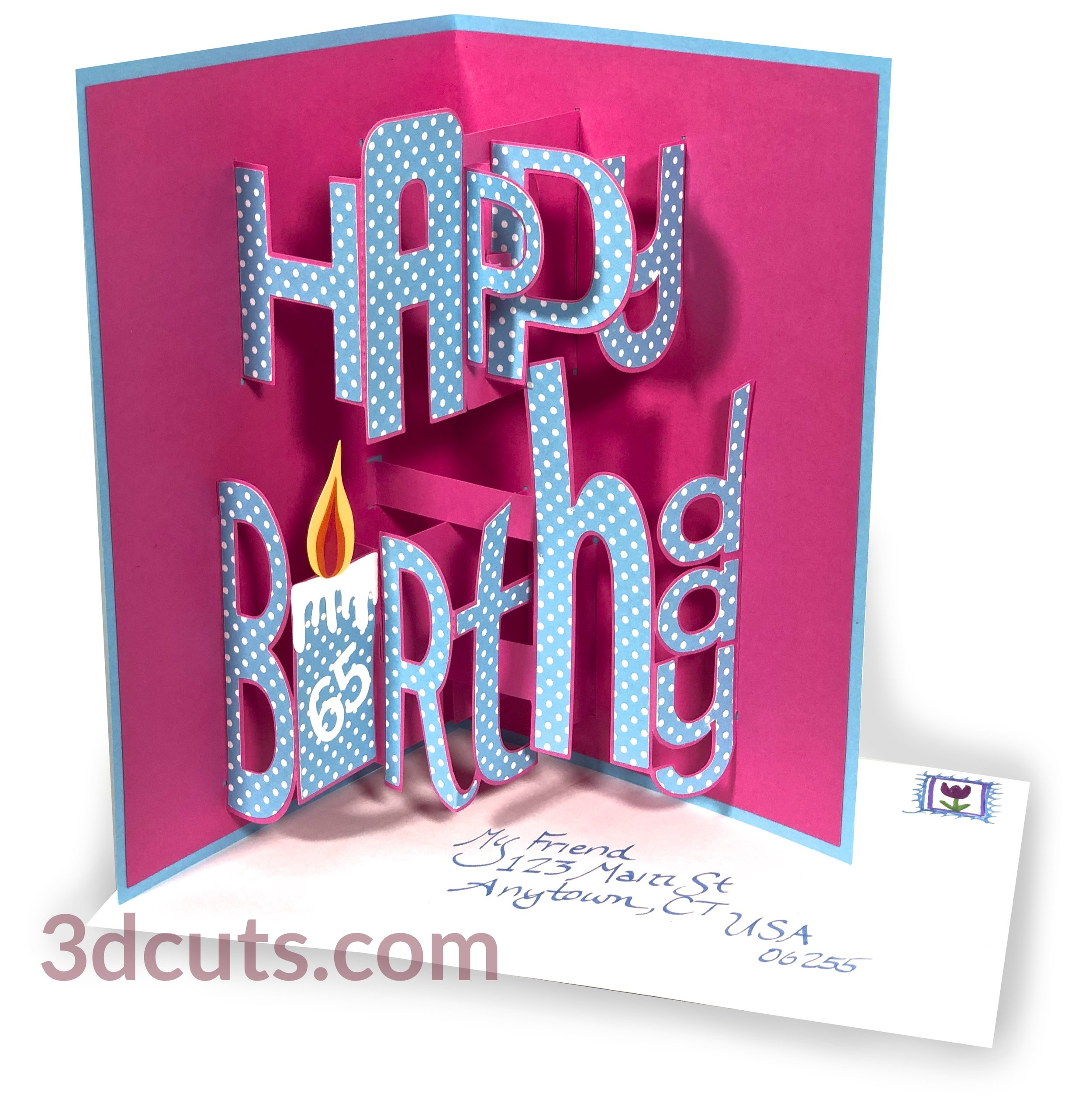Happy Birthday Card Whimsy Font Pop Up 3dcuts Com