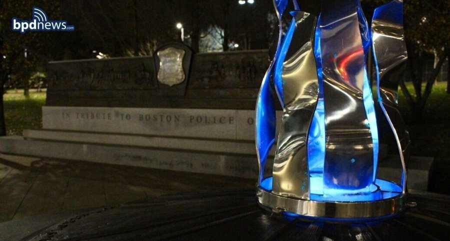The BPD Memorial's blue flame forever burns bright for all killed while protecting and serving others.