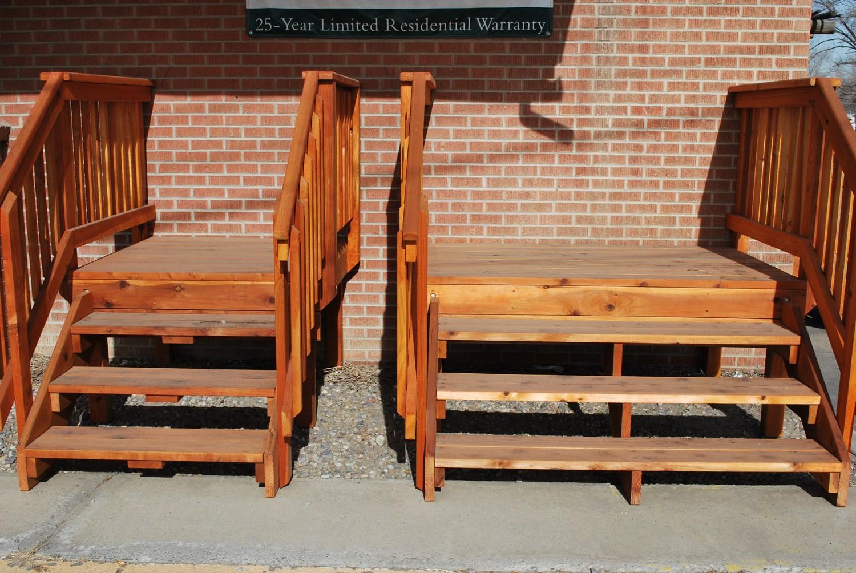 Spec Deck Pre Built Deck — The Redwood Store | Pre Built Wooden Steps | Oak | Exterior | Pre Built | Box | Prefabricated