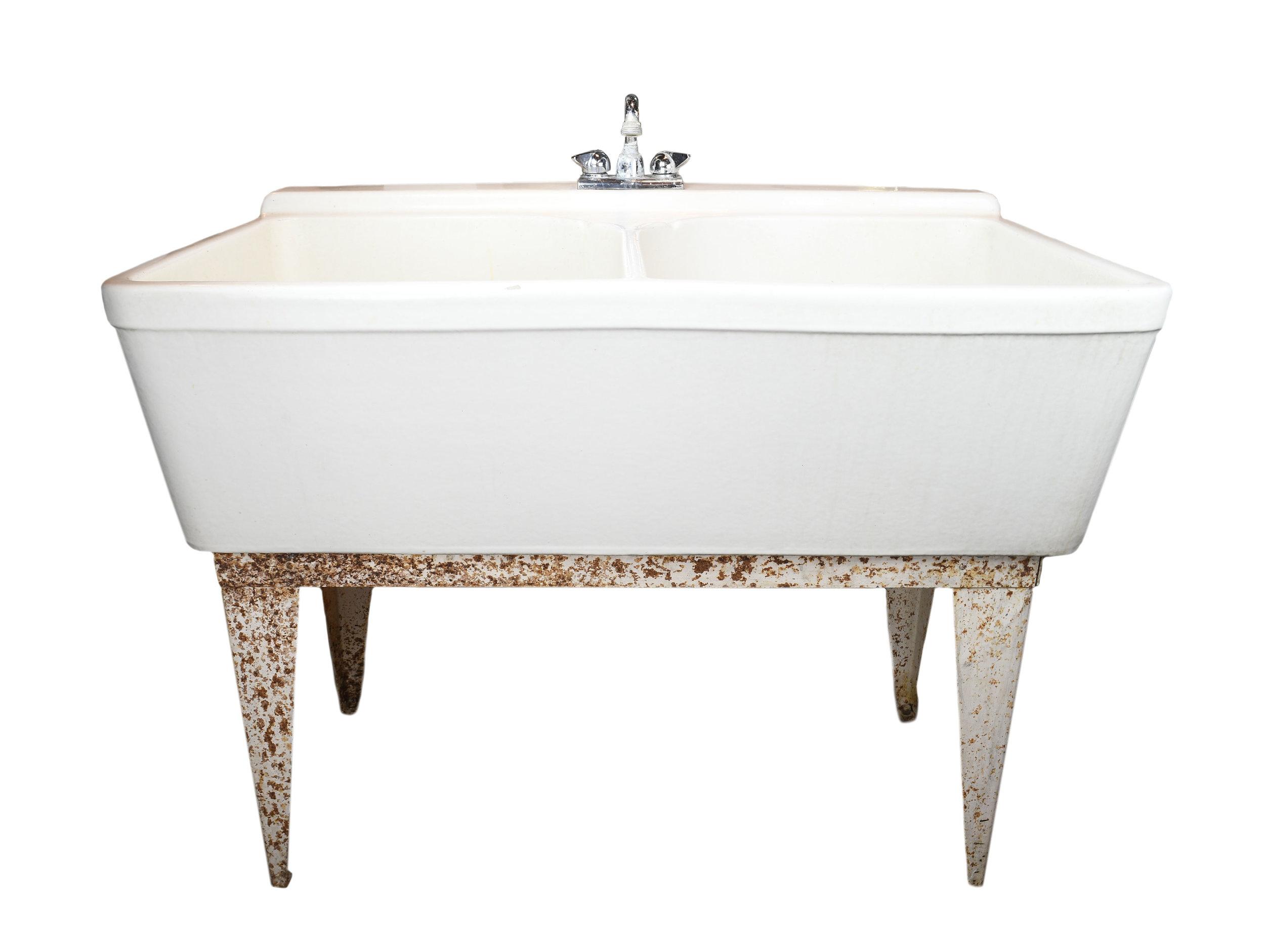 crane double basin porcelain sink architectural antiques