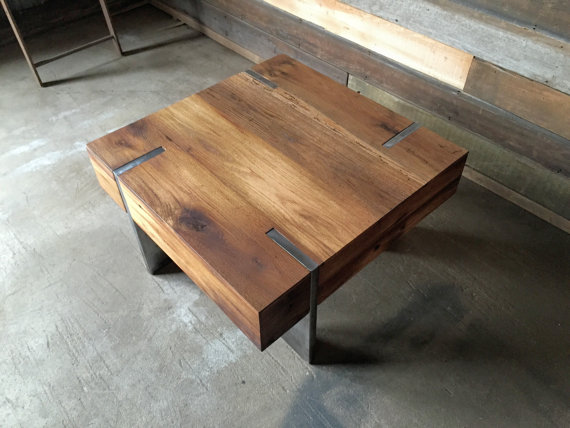 small square modern reclaimed wood coffee table what we make