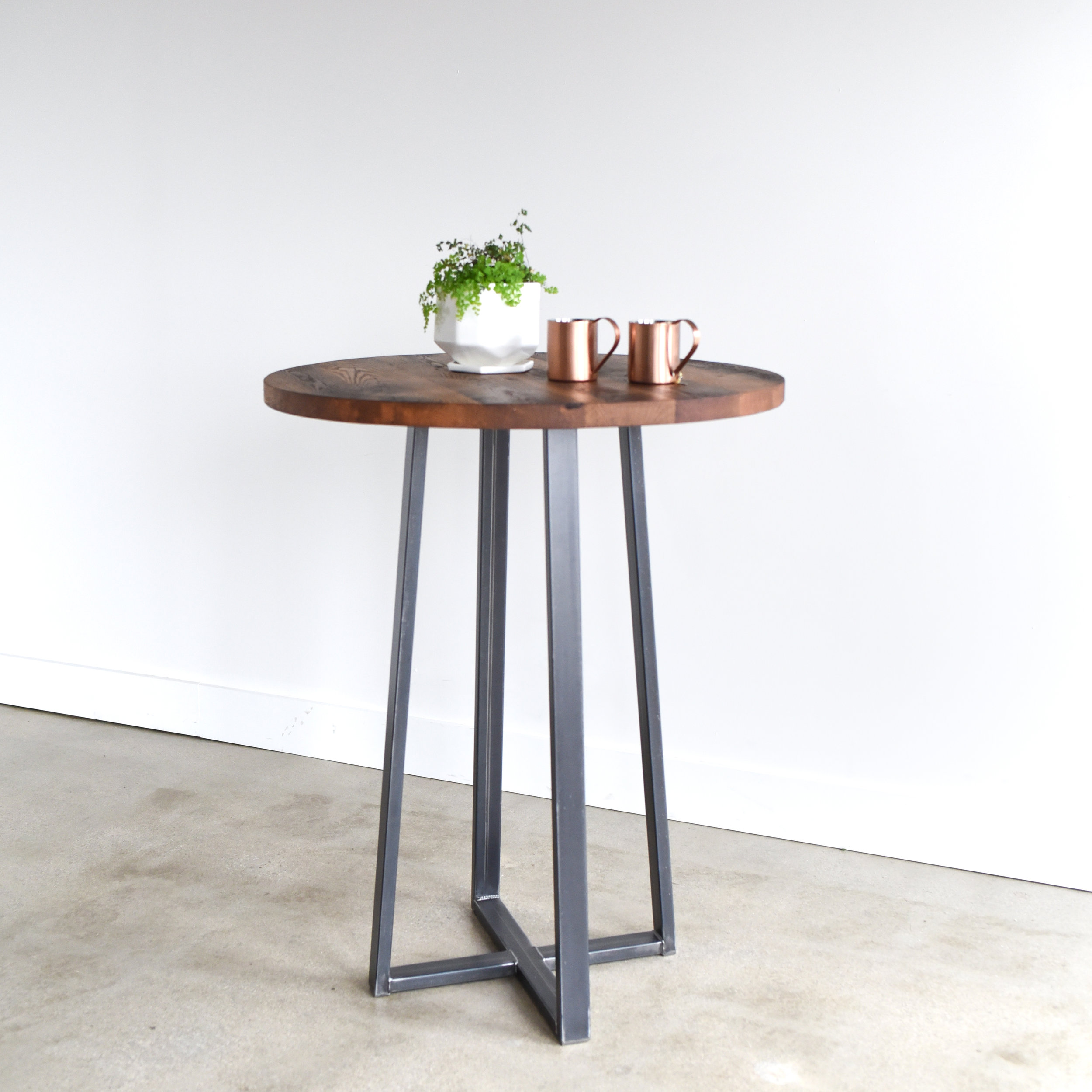Round Industrial Reclaimed Wood Pub Table 42 Bar Height What We Make
