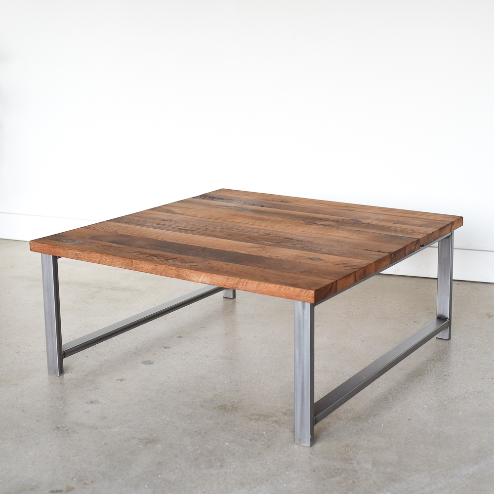 square reclaimed wood coffee table h shaped metal legs what we make