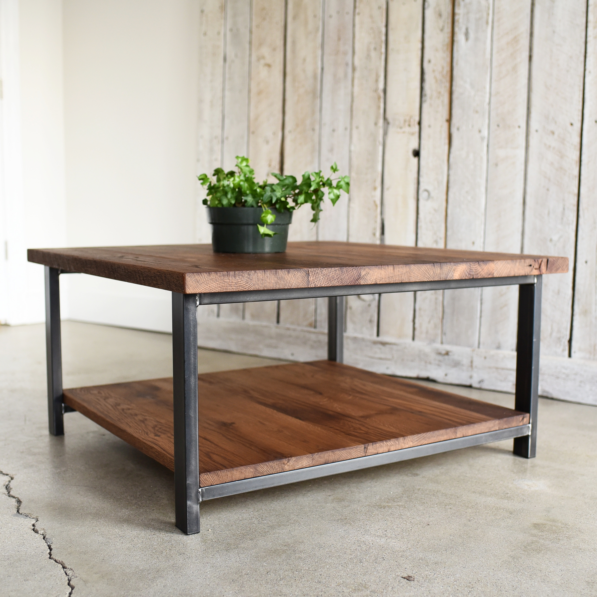 square reclaimed wood coffee table lower shelf what we make