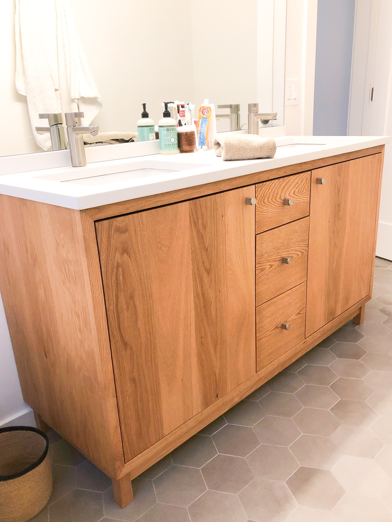 60 modern white oak wood vanity double sink what we make