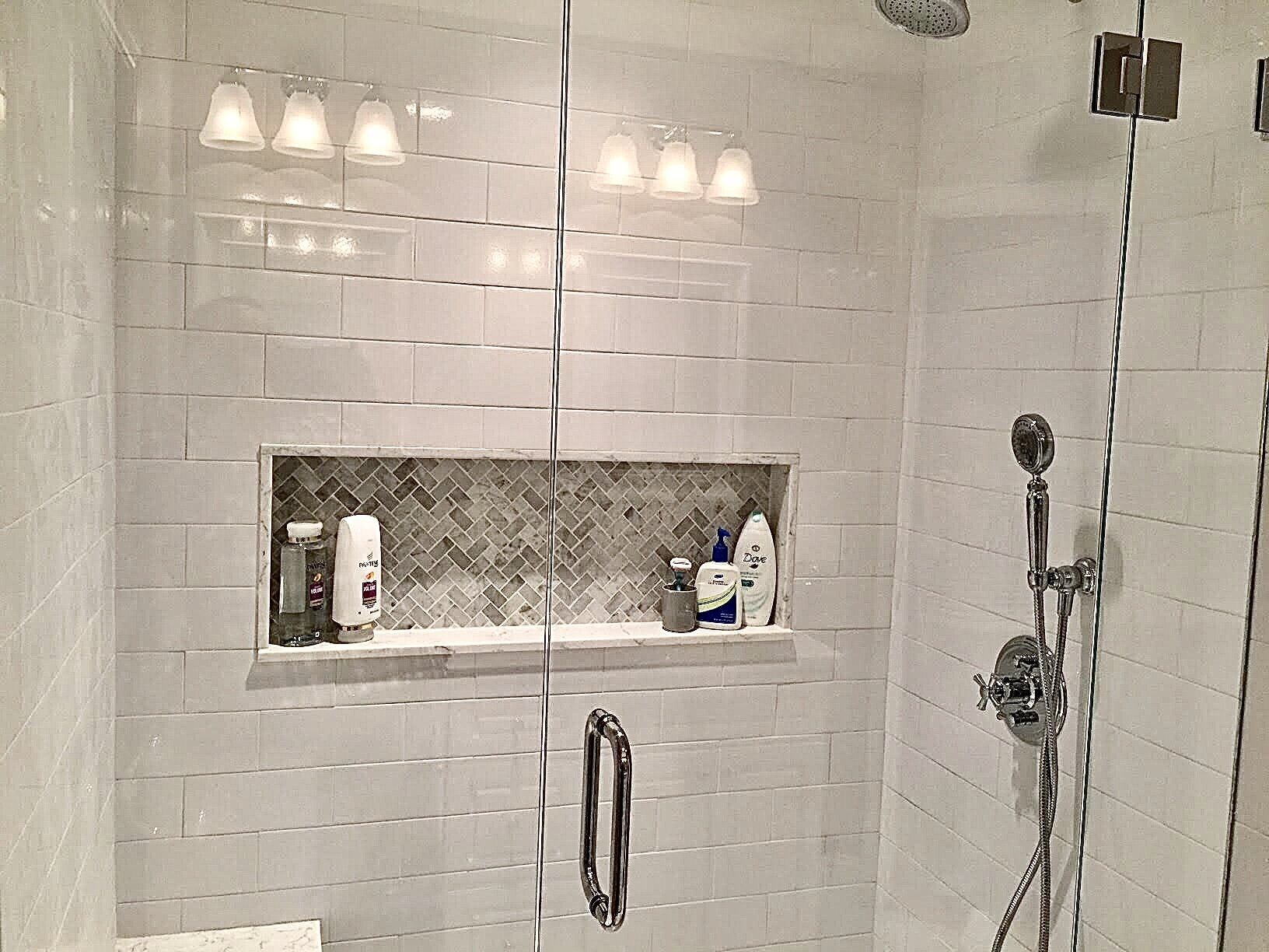 bench and marble shower remodeling hw