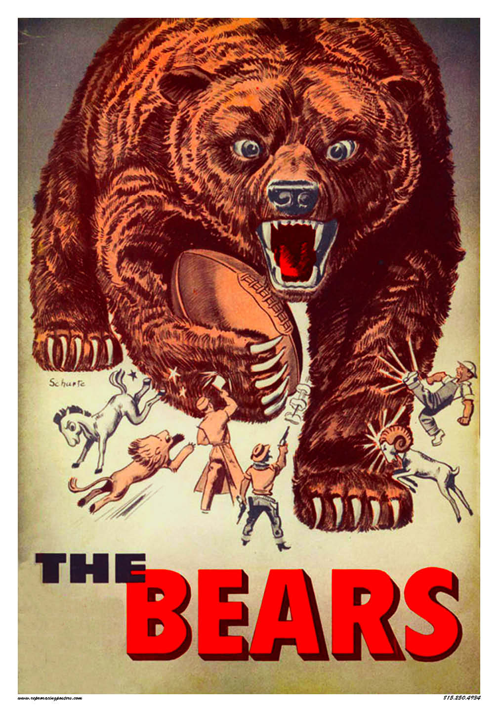 1958 chicago bears vintage reproduction racing posters