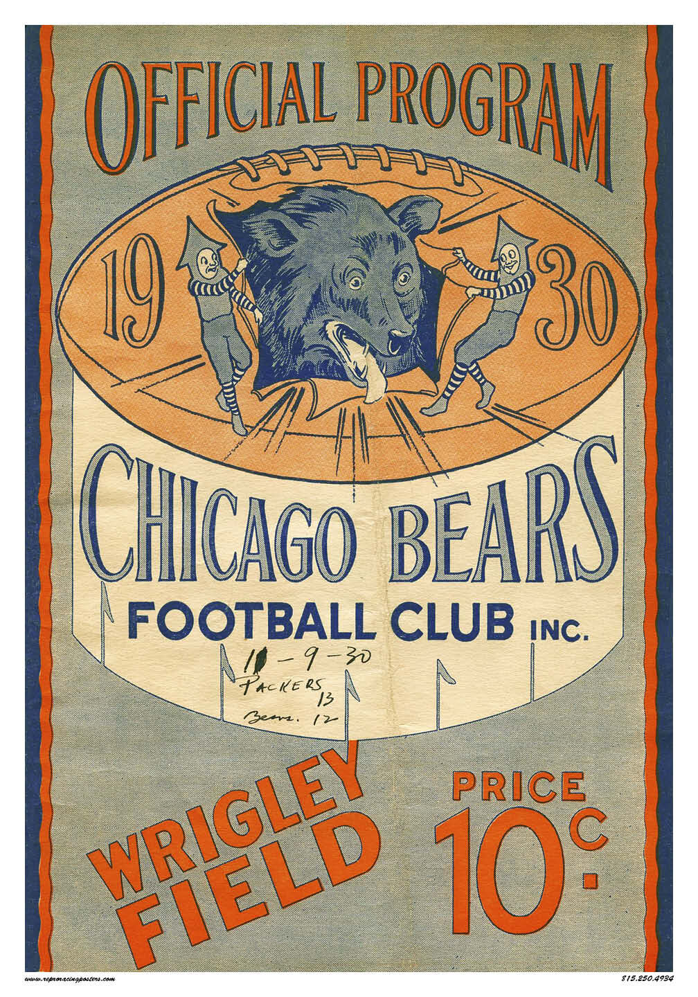 1930 chicago bears vintage reproduction racing posters