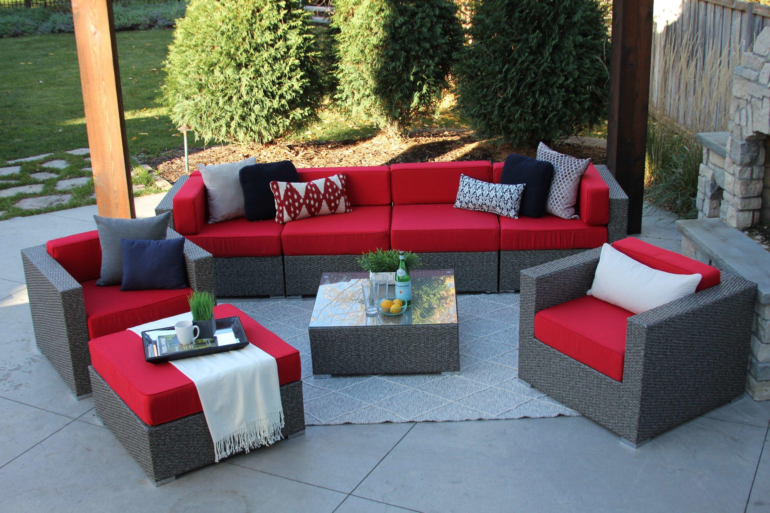 lincoln 8 piece wicker patio sofa sectional meldecco patio furniture