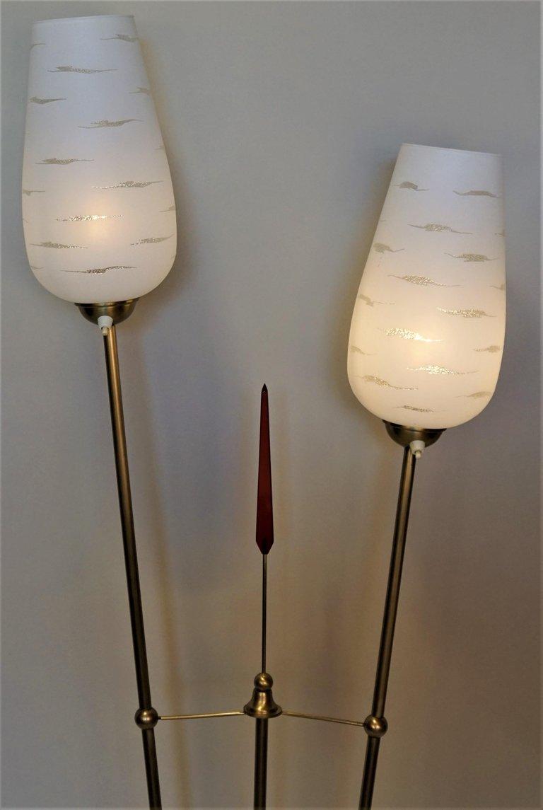 French Mid Century Double Light Floor Lamp Lu913611914053 Artisan Lamp