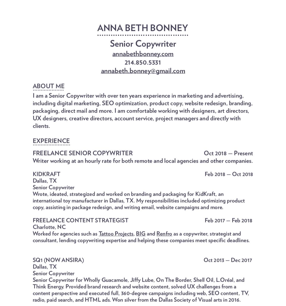 The Resume Anna Beth Bonney