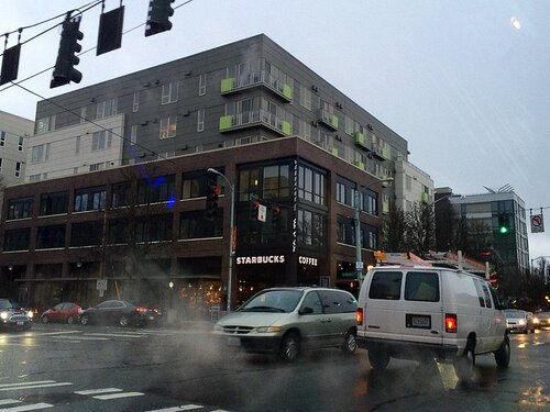 """Recent """"urban village"""" development in West Seattle (Photo by Joe Wolf via  Flickr )"""