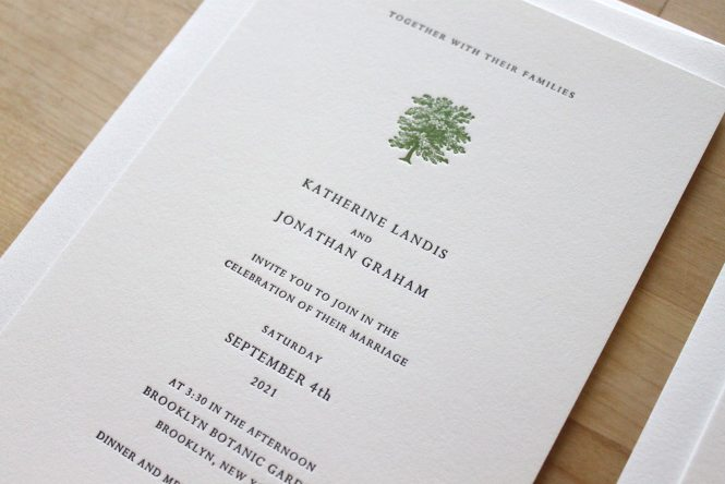 Tree Letterpress Wedding Invitations