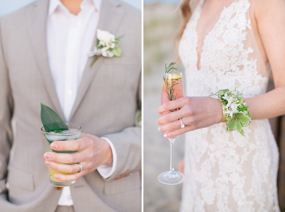 Ashley Mac Photographs and Mallory Weiss Planning create beach inspired styled shoot in New Jersey with cocktails for bride and groom