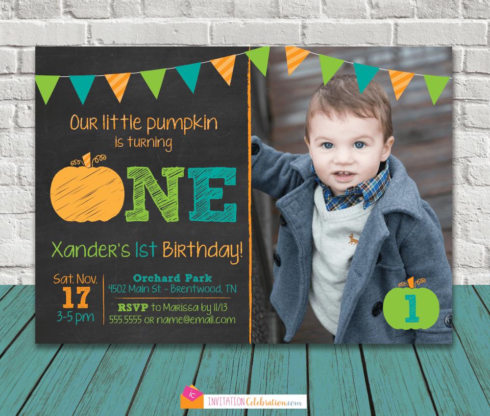 first birthday pumpkin invitation boy first birthday party invitation invitationcelebration com