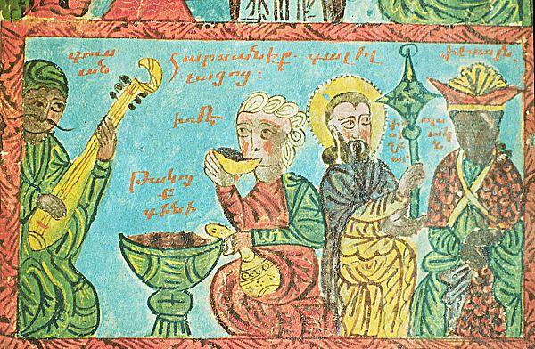 Гусан исполняет песню на свадьбе. Миниатюра XVI века