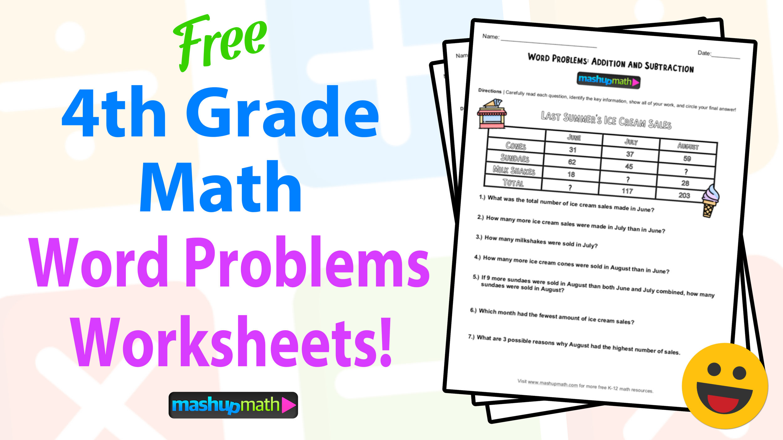 4th Grade Math Word Problems Free Worksheets With Answers