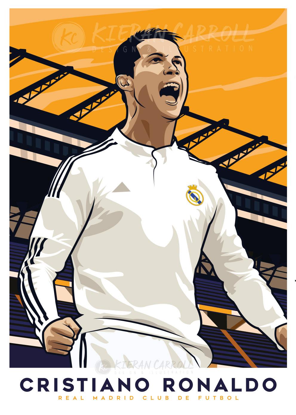 cristiano ronaldo real madrid cr7 poster kieran carroll design