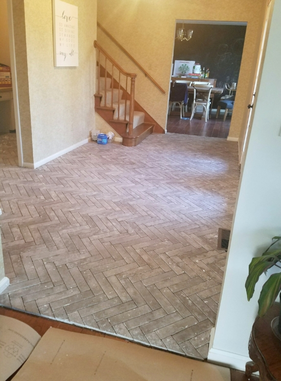 herringbone brick tile floors