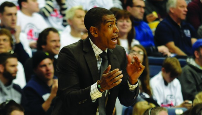 UConn men's basketball head coach Kevin Ollie during a regular season game in 2015. Ollie's name as once again surfaced as a candidate to fill an NBA head coaching vacancy. (Jon Kulakofsky/The Daily Campus)