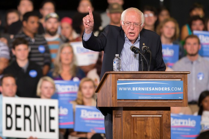 Democratic presidential candidate Sen. Bernie Sanders speaks during a rally at the Greensboro Coliseum Special Events Center in Greensboro, North Carolina, Sunday, Sept. 13, 2015. (Rob Brown/AP)