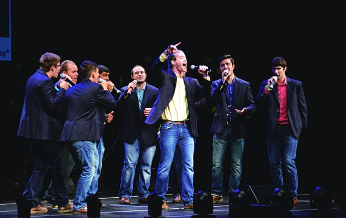 A cappella group A Completely Different Note performs during the UConn A Cappella Association concert at the Jorgensen Center for the Performing Arts on Sunday, Sept. 13, 2015. (Jason Jiang/The Daily Campus)