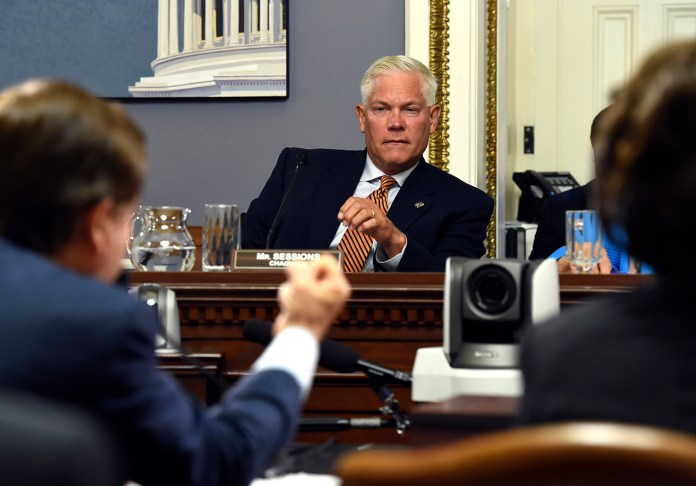 House Rules Committee Chairman Pete Sessions, R-Texas, listens as Chairman Rep. Ed Royce, left, R-Calif. speaks during a House Rules full committee meeting on the Iran nuclear program deal in Washington, Tuesday, Sept. 8, 2015. Sessions co-sponsored the Fair Campus Act, which was introduced in Congress in late July.(Molly Riley/AP)