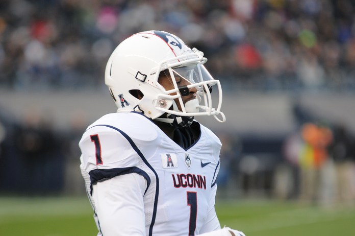 UConn wide receiver Dhameer Bradley during the Huskies' game against Army on Saturday, Nov. 8, 2014 at Yankee Stadium in New York. (File Photo/The Daily Campus)