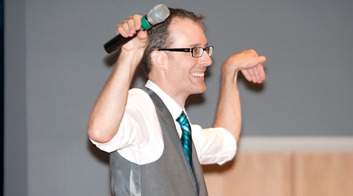 """Sex educator Marshall Miller is seen during """"I Love the Female Orgasm"""" in the Student Union Theater on Monday, Sept. 14, 2015. (Allen Lang/The Daily Campus)"""