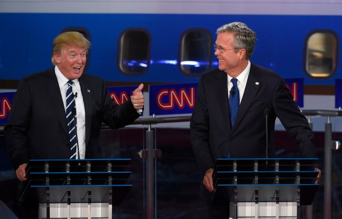 Republican presidential candidate, former Florida Gov. Jeb Bush, right, watches as Donald Trump speaks during the CNN Republican presidential debate at the Ronald Reagan Presidential Library and Museum on Wednesday, Sept. 16, 2015, in Simi Valley, Calif. (Mark J. Terrill/AP)